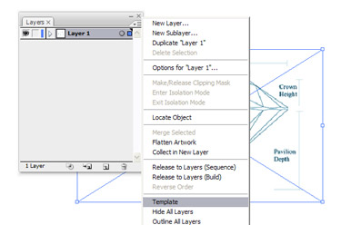 Navigate to Layers Palette into Template. This will lock and make the graphic transparent for easy tracing.