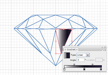 Choose one of the facets and fill it with Linear Gradient.