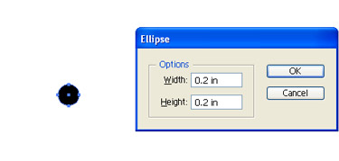 Select the Ellipse tool and click on the artboard and then enter the values