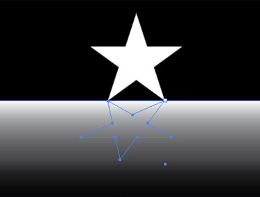 Draw a rectangle over the new upside down star using the Rectangle tool. Change the gradient to white and black, and move the middle slider to the left in the Gradient palette