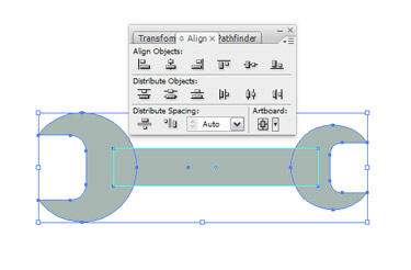 Using the Selection Tool choose all the shapes of the wrench and click Horizontal Align Centre.