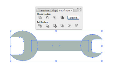 Choose the small circle and the rounded rectangle. Navigate to Pathfinder palette and choose Subtract from shape area and click the Expand. Now select all shapes of the wrench