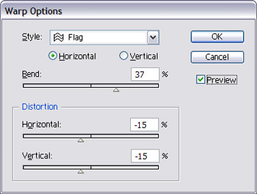 For the word at the bottom, change its colour and then use Warp Options. Choose Flag on the horizontal.