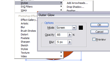 Choose the outer glow following options: