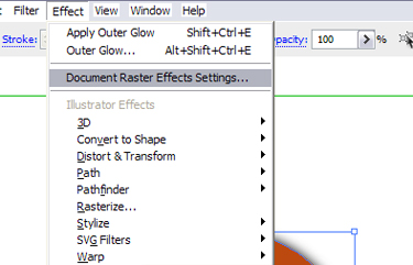 Select the effect document raster effects settings.