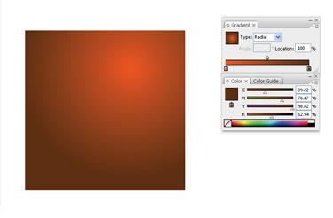 Make a new document. Create a rectangular shape. Fill the shape with bright radial gradient.