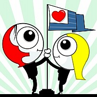 Free Couple Holding A Love Flag Post