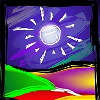 Free Sun in the midst of hill Illustration