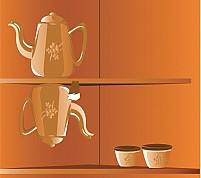 Free Teapot and cups Illustration