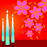Free Candles And Flowers Illustration