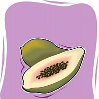 Free Papaya Fruit And A Half Piece Illustration