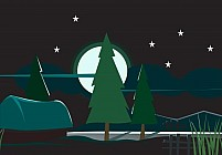 Free trees with stars and moon Illustration