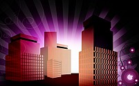 Free group of multi storey building Illustration