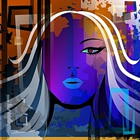 Free Beauty of lady face in transparent blue Illustration