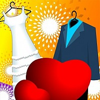 Free gown and suit for wedding Illustration