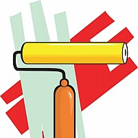 Free painting roller in colourful background Illustration