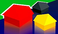 Free small red, yellow and grey housesIllustration