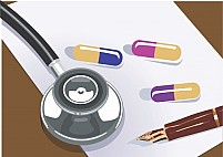 Free Stethoscope and Tablets on a Paper Illustration