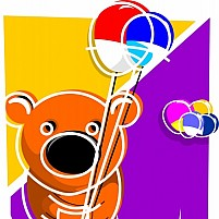 Free Teddy Bear Holding Balloons Illustration