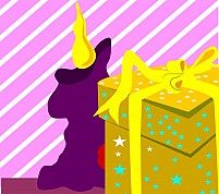 Free Gift Box And Candle Illustration