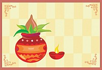 Free Holy Pot With A lighted Divine Lamp Illustration