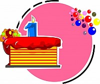 Free birthday cake and candle lighted Illustration