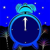 Free cartoon animated clock with background design Illustration