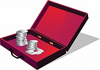 Free Briefcase with coin Illustration