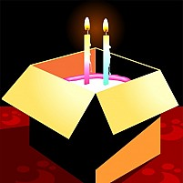 Free  Gift Box And Cake With Candle Illustration