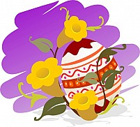 Free Easter Eggs With White Flower Illustration