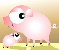 Free A mother pig and piglet Illustration