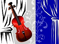Free stage with violin Illustration