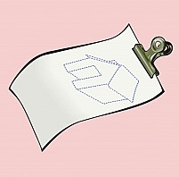 Free paper in a clip having a sketch of a house Illustration