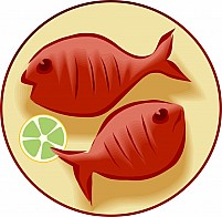 Free seafood and a lemon peace in a plate Illustration