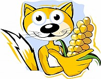 Free Cat Holding Maize Illustration