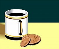 Free  tea and biscuit Illustration