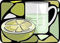 Free Sliced Lemon Piece And Glass Of Juice Illustration