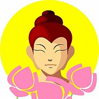 Free Lord Buddha face and lotus flowers Illustration