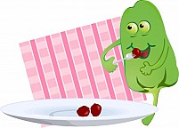 Free comic capsicum plate with eating food Illustration
