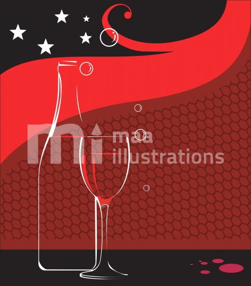 Free wine glass and wine bottle with stars Illustration