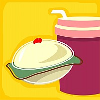 Free Cake Cup And Straw Illustration