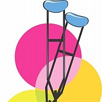 Free two crutches in background of circles Illustration