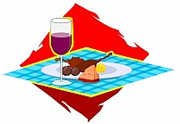 Free wine and dishes on a table Illustration