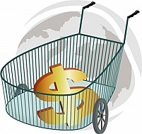 Free Dollar Sign In The Trolley Illustration