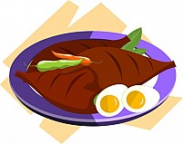 Free meat chillies and egg in a plate Illustration
