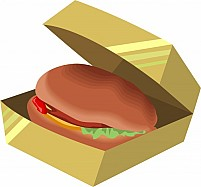 Free Hamburger In A Box Illustration