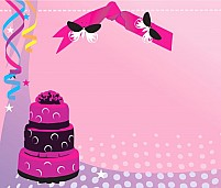 Free cake with ribbons Illustration