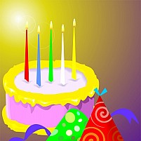 Free Birthday Cake And Candles Illustration