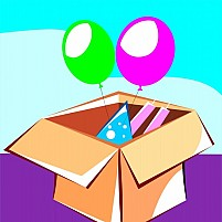 Free Gift Box And Balloons Illustration