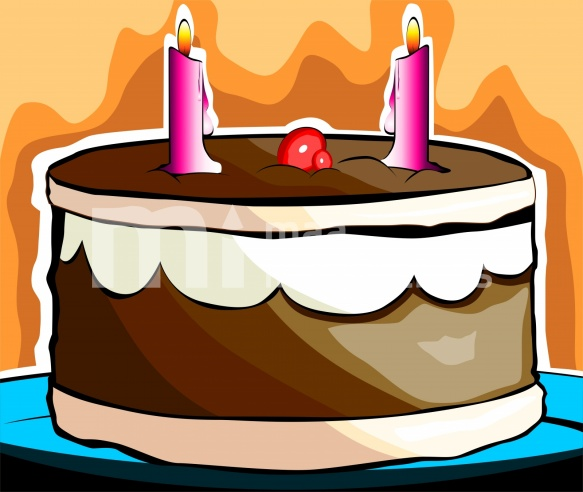 Free  Birthday Cake With Candles Illustration